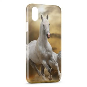 Coque iPhone X & XS Cheval 6 White