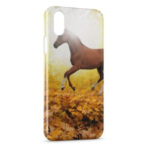 Coque iPhone X & XS Cheval Automne Feuilles
