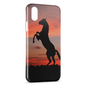 Coque iPhone X & XS Cheval Cabré 2 Sunset
