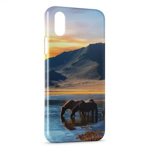 Coque iPhone X & XS Cheval Chevaux Water