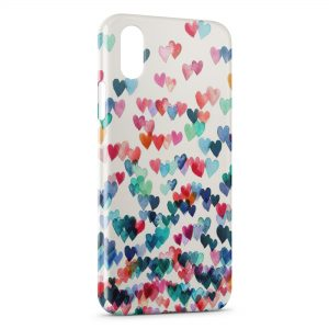 Coque iPhone X & XS Coeurs Colors
