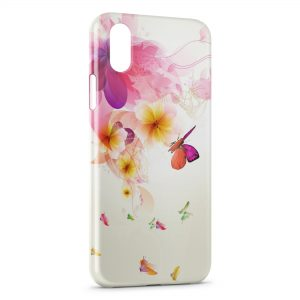 Coque iPhone X & XS Colorful Butterflies on Flowers