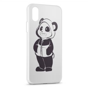 Coque iPhone X & XS Cute Panda Black & White Art