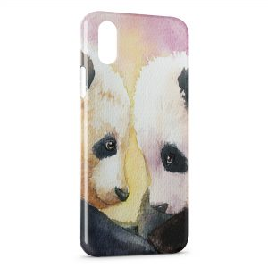 Coque iPhone X & XS Cute Pandas Painted