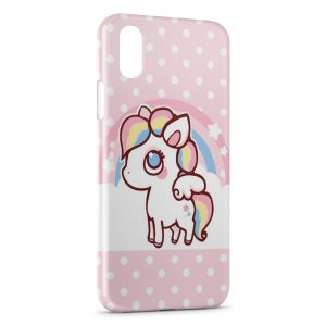 Coque iPhone X & XS Cute Unicorn Licorne Pink