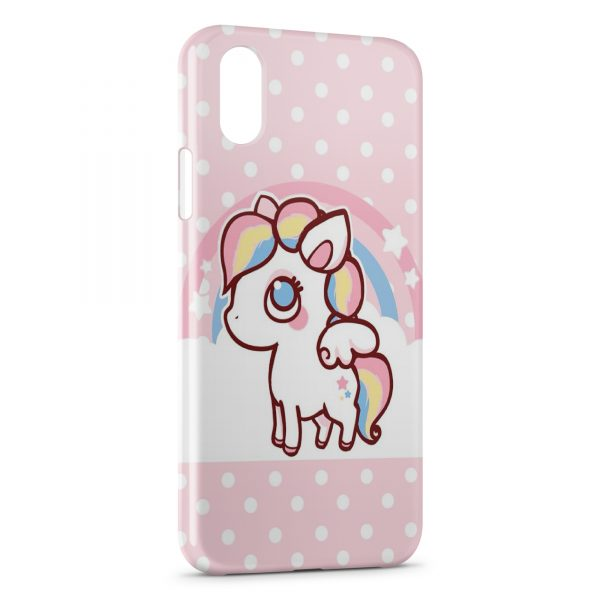 Coque iPhone X & XS Cute Unicorn Licorne Pink