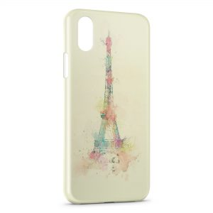 Coque iPhone X & XS Eiffel Tower Painted
