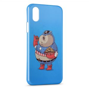 Coque iPhone X & XS Fat Captain America