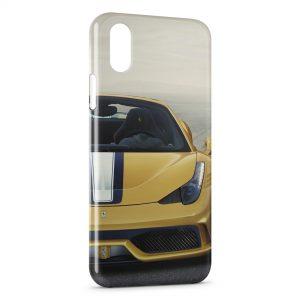 Coque iPhone X & XS Ferrari Jaune Voiture Luxe