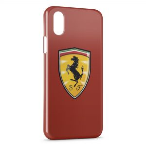 Coque iPhone X & XS Ferrari Logo Cheval Graphic Red