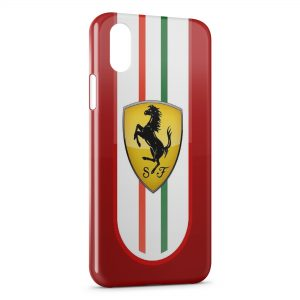 Coque iPhone X & XS Ferrari Logo Italie Cheval