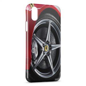 Coque iPhone X & XS Ferrari Roue Jante Rouge Silver 5