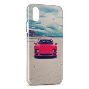 Coque iPhone X & XS Ferrari Rouge Vintage Blue Sky