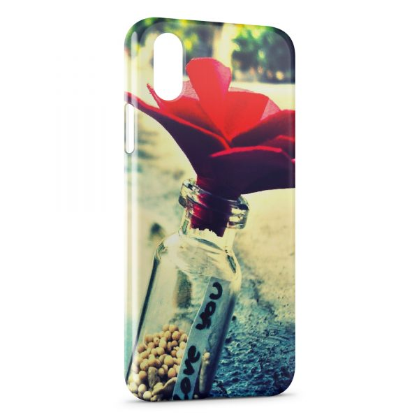 coque iphone x fleure rose rouge