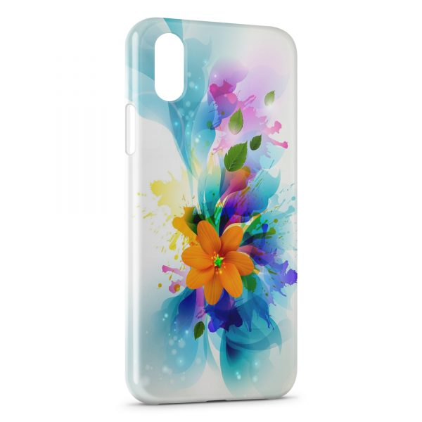 Coque iPhone X & XS Fleurs Glossy