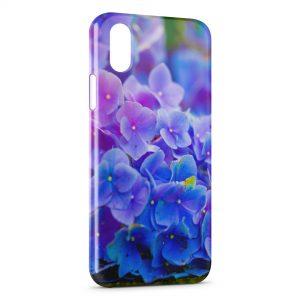 Coque iPhone X & XS Fleurs bleues