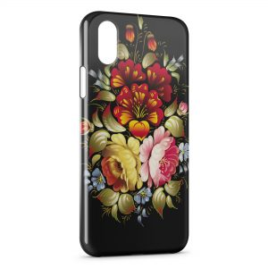 Coque iPhone X & XS Flowers Black Design