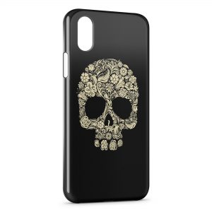 Coque iPhone X & XS Flowers Skull