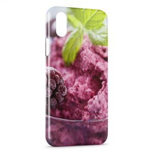 Coque iPhone X & XS Framboise sur Glace