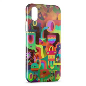 Coque iPhone X & XS Funny Multicolor Art