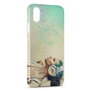 Coque iPhone X & XS Girl Music 2