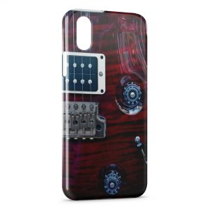 Coque iPhone X & XS Guitare Pourpre Cordes