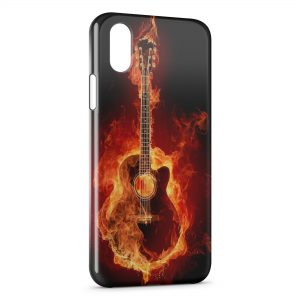Coque iPhone X & XS Guitare en feu