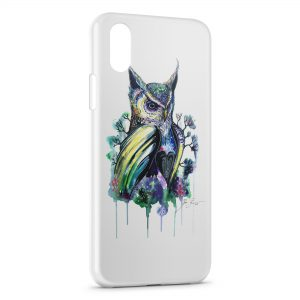 Coque iPhone X & XS Hiboux Paint