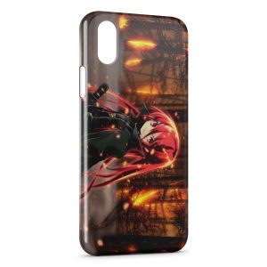 Coque iPhone X & XS In The Forest of Red Hair Anime Girl