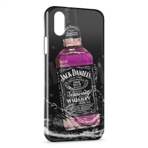 Coque iPhone X & XS Jack Daniel's Pink Rose Art