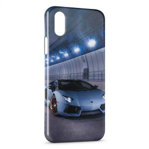 Coque iPhone X & XS Lamborghini Bleue Voiture