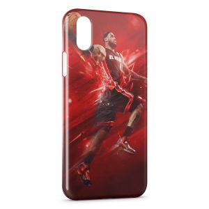 Coque iPhone X & XS Lebron James Basketball Red Art