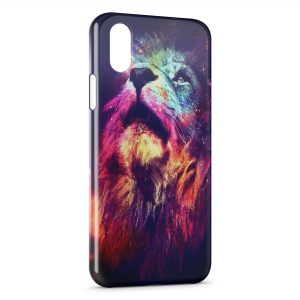 Coque iPhone X & XS Lion Multicolor 3