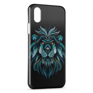 Coque iPhone X & XS Lion Style Design Blue