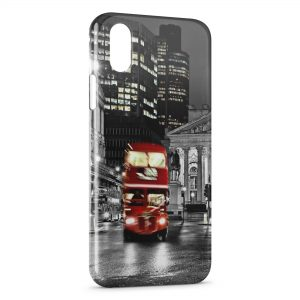 Coque iPhone X & XS Londres Bus London Rouge Black & White