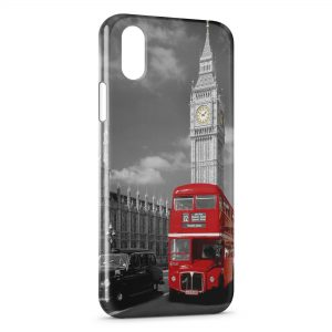 Coque iPhone X & XS Londres Bus London Rouge Black & White 2