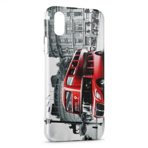Coque iPhone X & XS Londres London Bus Red Black & White 3