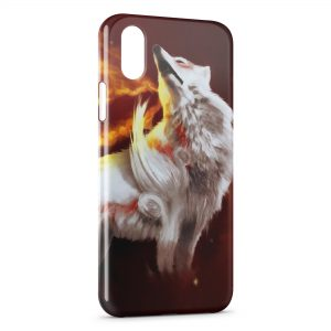 Coque iPhone X & XS Loup & Fire