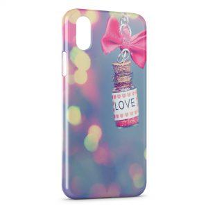 Coque iPhone X & XS Love Vintage Flacon Rose