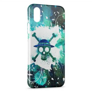Coque iPhone X & XS Manga One Piece Tete de mort Colored
