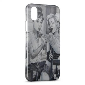 Coque iPhone X & XS Marilyn Monroe et Audrey Hepburn