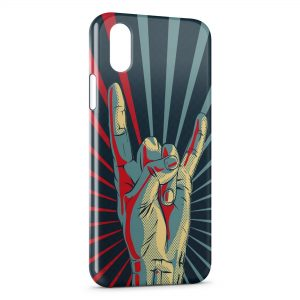 Coque iPhone X & XS Metal Rock Roll Hand Main