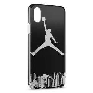 Coque iPhone X & XS Michael Jordan Basket Logo White & Black