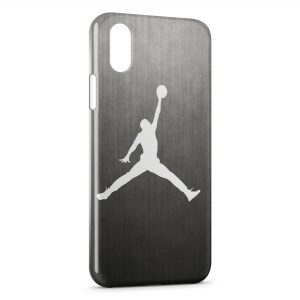 Coque iPhone X & XS Michael Jordan Basket Logo White & Grey