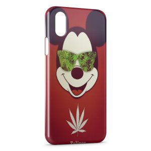 Coque iPhone X & XS Mickey Cannabis Weed Lunette