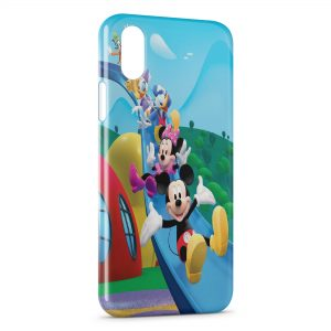 Coque iPhone X & XS Mickey Minnie Donald Daisy Toboggan