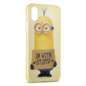 Coque iPhone X & XS Minion I am with Stupid
