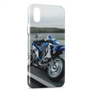 Coque iPhone X & XS Moto Rider Blue 3