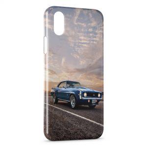 Coque iPhone X & XS Mustang Bleue