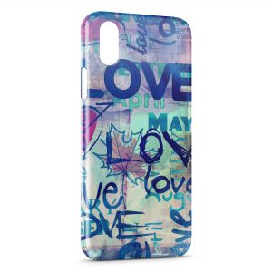 Coque iPhone X & XS One love Deisgn Art Graphic